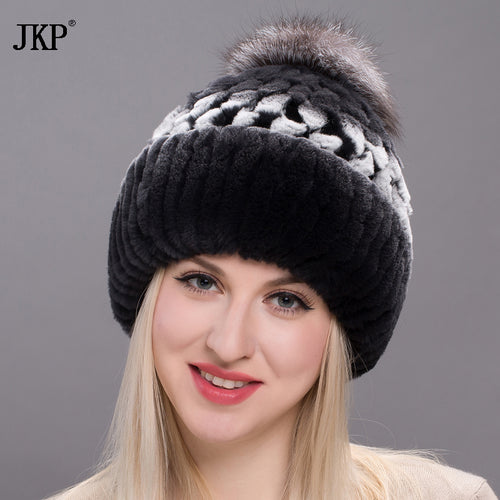 Winter fur hat for women real rex rabbit fur hat with fox fur Pom poms fur knit hat 2017 new good quality lids THY17-14