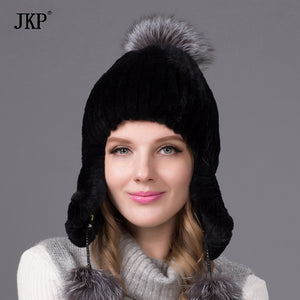 Winter fur hats for women rabbit fur hat silver fox fur with lining pom pom knit beanies with lining THY-07