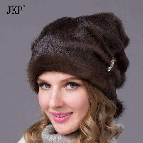 Winter hats fur glow sticks and diamond jewelry fashion women real mink fur hat DHY-67