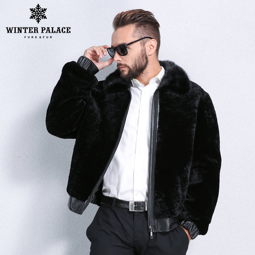 Sheep Shearling Coat. Winter mouton fur coat men Turn-down Collar black fur coat men Imported high-grade fur Fashion Slim real sheepskin coats black
