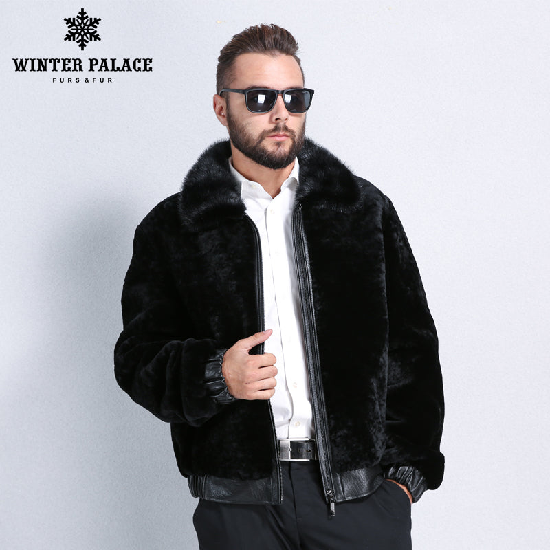 499ca9ac1079a Sheep Shearling Coat. Winter mouton fur coat men Turn-down Collar ...
