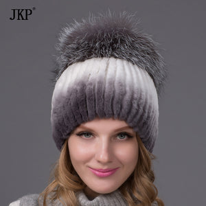 Winter rex rabbit fur hat for women with fox fur pom poms top knitted beanies fur hats new brand causal good quality cap THY-02