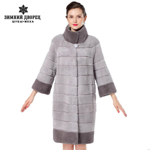 Women fashion gray fur coat ,real rabbit fur,Wide-waisted Rex coat,Beaver fur coat,rabbit fur coats women
