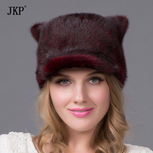 Women fur hat winter real Orecchiette mink tail and wine red mink fur hats new fashion mink fur cap high quality warm hat DHY-61