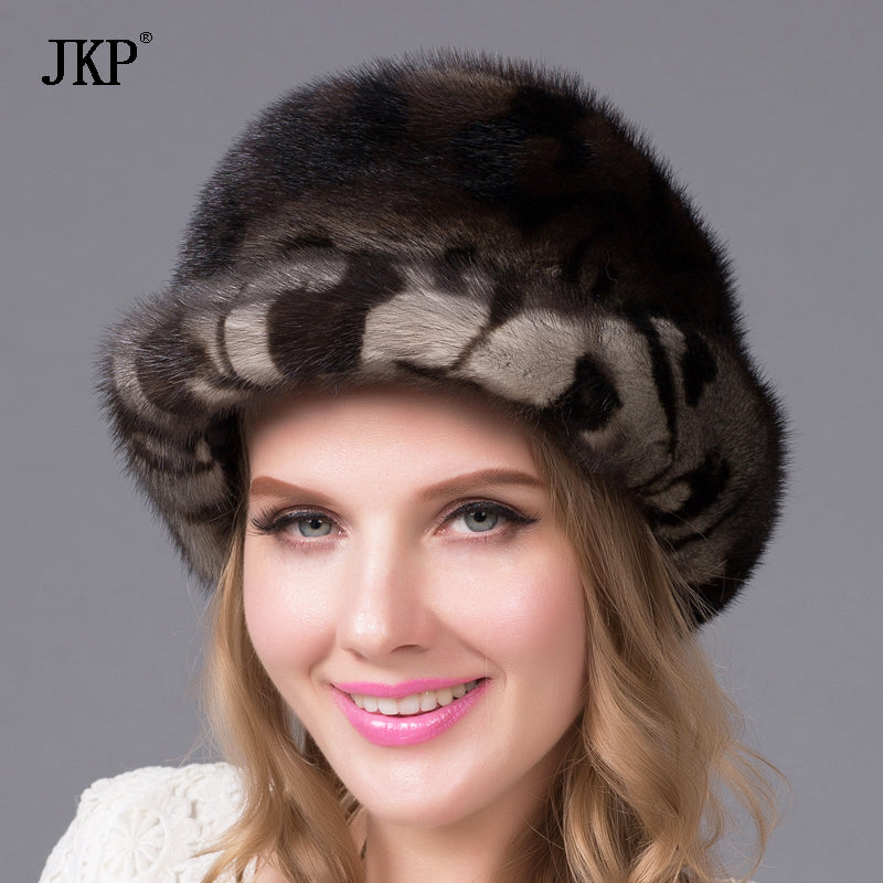Women new hot winter fur hat good genuine mink fur hat mask diamond accessories women fur hat QualityDHY-59