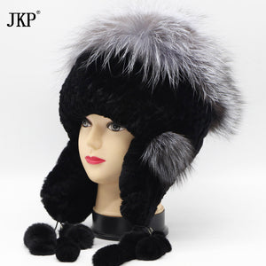 Women's Winter Rabbit Fur Rex Hat Hearing Protection Plugs Fashion Causal Spike Bomer Hat Silver Fox Fur Leather Hat Tops