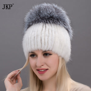 Women skullies genuine winter fur hat mink fur with silver fox pompoms top hats sale hot sale elastic fur cap  DHY17-26CX