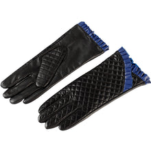 Womens gloves,Wrist mouth blue lace,Genuine Leather,Cotton,Adult black leather gloves,Ladies gloves,Female gloves,Free shipping