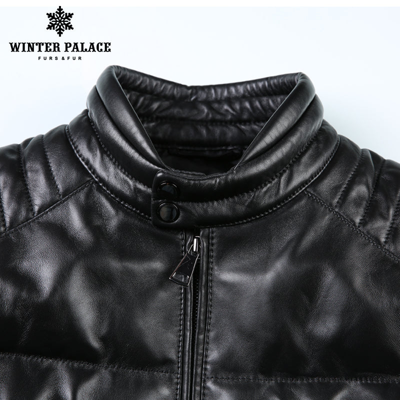 f0de3aa17215 ... Young style leather jacket Mandarin Collar leather jacket men Internal  Cotton jacket mens genuine leather Warm ...