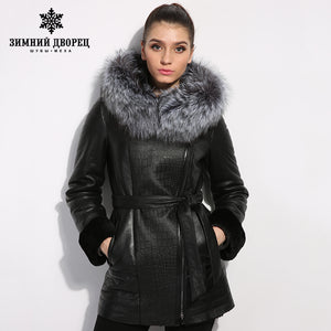 Sheep Shearling Coat. Jacket women's winter Genuine Leather women Leather clothing Good quality fur coats  coat  sheepskin coat  fox fur collar