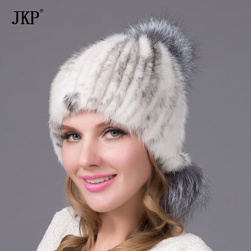 real mink fur hat autumn and winter silver fox fur hat with pom salt flakes stylish Russian fur hat factory sale  DHY-32