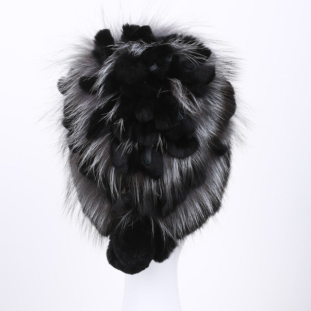 Real mink Fur Hat For Women With Rex Rabbit Fur Flowers Top 2017 Russia Style Fox Fur Cap Fashion Knit mink fur Beanies DHY-20