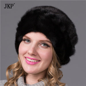 Real mink fur hat female winter 2017 Russian women's high-end luxury all imported mink hat fur hat floral pattern  DHY-71