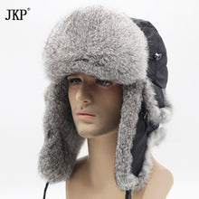 Winter Hat For Men Women Real Rabbit Fur Cap Ear Warm Winter Ski Cap Bomber Unisex Russia Fur Hat High Quality To Keep Warm
