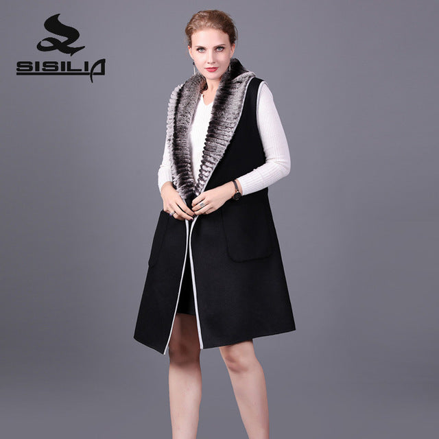Cashmere Coat. SISILIA 2017 New Cashmere Coat With Rex Rabbit Fur  Of Women Winter Genuine Leather Fur Coats Good Fur Jackets For Female