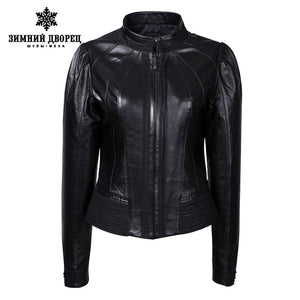 2016 best-selling female leather jacket,black leather,Mandarin Collar,Spring fashion leather jacket,leather jacket brand quality