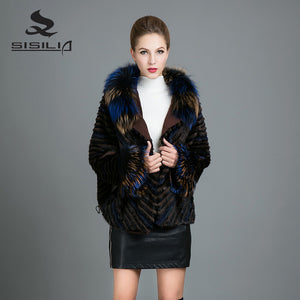 SISILIA 2017 New Real Mink  Fur Coats Womens  FashionWith Fox Fur Hood Jackets Warm High Quality Good Mink Fur Coats Female