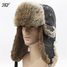 Mens Rabbit Leather Fur Hat Russian Soviet Dad Ushanka trapper fur hat winter hats for men