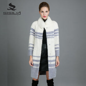 SISILIA 2017 New Real Mink  Fur Coats Womens  Fashion Natural Fur Jackets Warm High Quality Good Mink Fur Coats Female