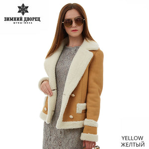 Sheep Shearling Coat. Real fur women fur coat  Fashion Slim Fur women coats Suede leather coat sheepskin coat Popular Light blue