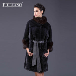 PHILLANO New Style Ladies' Mink Coats Genuine Leather Pearl Good Quality Mink Fur Coat Women Natural Coats Of Mink Fur