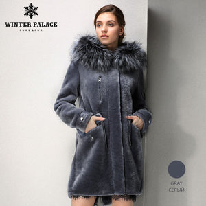 Sheep Shearling Coat. Designer paragraph fashion autumn  long mouton fur coat  casual clothing fur coats women Fox fur hat fur coats WINTER PALACE