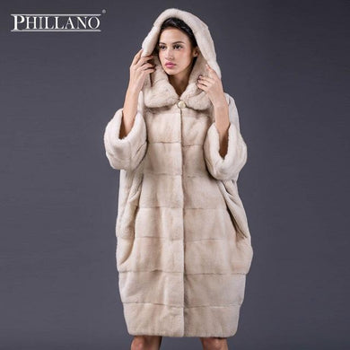 PHILLANO 2017 Bat Sleeved Winter Fur Coat Women Clothing Real Fur Coats Mink Scandinavia Denmark NAFA Plus Size YG12091-100