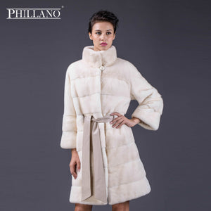 Phillano 2017 New Premium Winter Coat Women Real Mink Fur Coat Plus Size Warm Thick Fur Denmark NAFA Scandinavia YG13002-90
