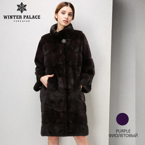 Winter Fashion high-grade women mink coat long fur coat Comfortable mink fur coat Mandarin Collar coat WINTER PALACE