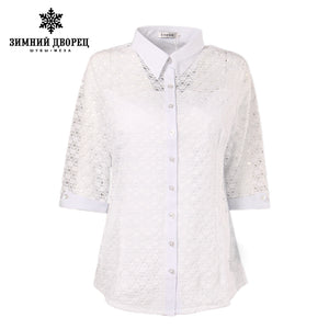 white fashion summer Chiffon shirt women lace pattern stretch Three Quarter sleeve shirt female large size chiffon shirt female