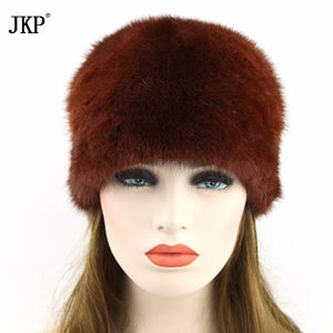 winter fashion Real Leather Pompoms Set Of Mink Fur Winter Hats For Women Solid High Quality Russia Hot Female Hats  ZD-06