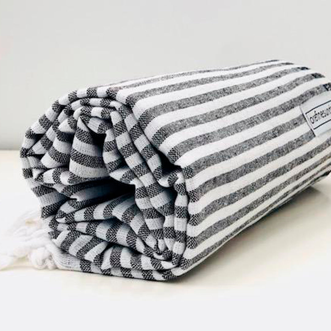 Classic Turkish Towel Thin Striped Black
