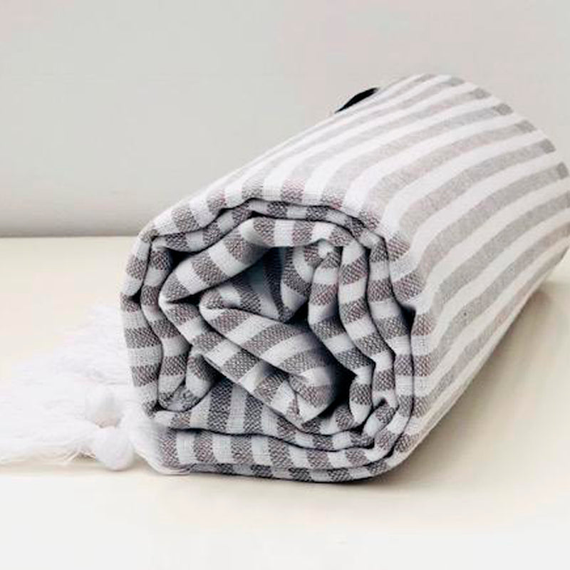 Classic Turkish Towel Thin Striped Dark Grey