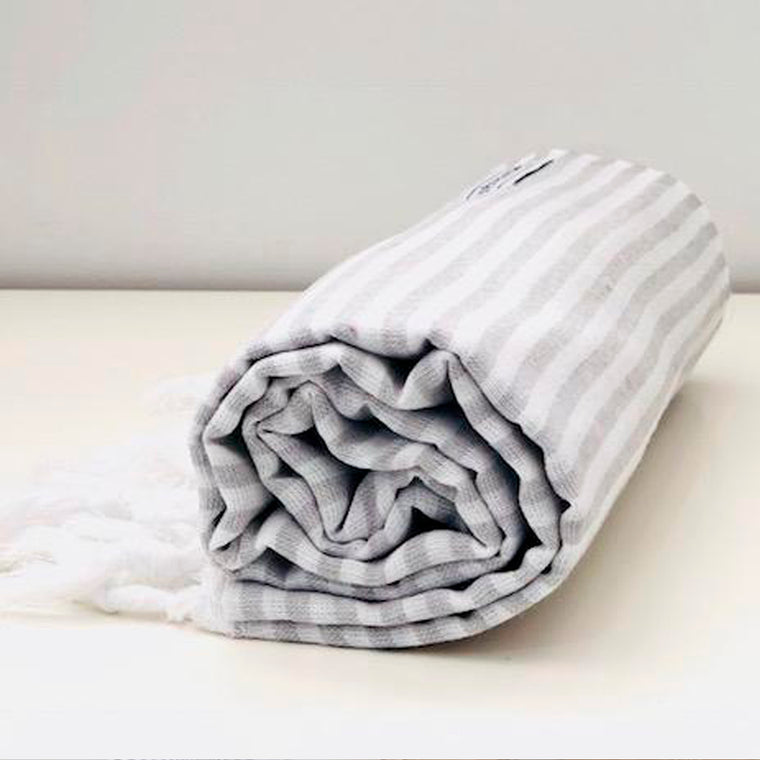 Classic Turkish Towel Thin Striped Light Grey