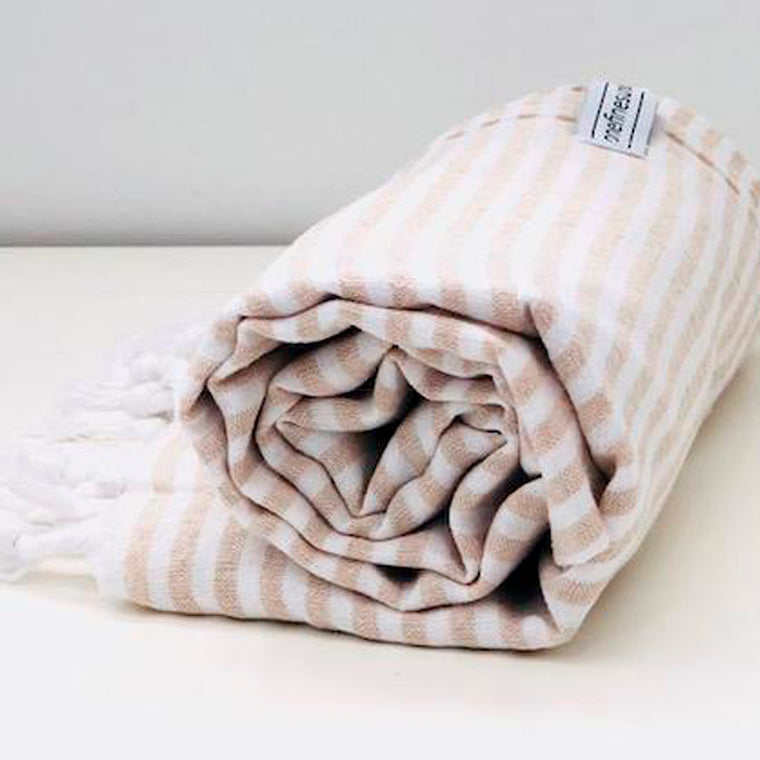 Classic Turkish Towel Thin Striped Sand
