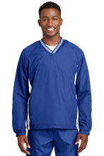 Tipped V-Neck Raglan Wind Shirt / True Royal and White / Tidewater Drillers - Fidgety