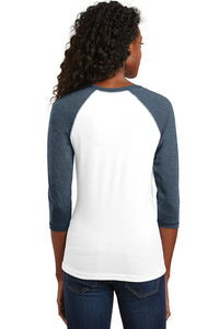 Debate Voice 3/4 Sleeve Raglan Tee / White & Heather Navy / Plaza Debate - Fidgety
