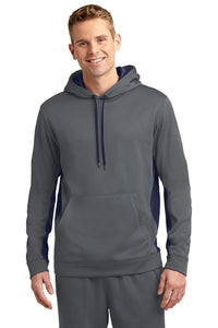 Sport Wick Fleece Color Block Hooded Sweatshirt / Smoke Grey & Navy / Lynnhaven Wrestling - Fidgety