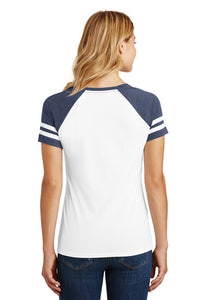 Game Day V-Neck T-Shirt / White & Navy / Tridents - Fidgety