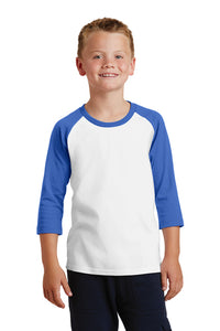 Core Blend 3/4-Sleeve Raglan Tee / White and Royal / Tidewater Drillers - Fidgety