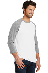 Triblend 3/4-Sleeve Raglan T-shirt / White & Gray Frost / Tridents - Fidgety