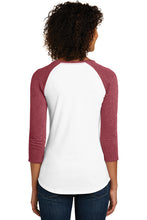 Women's Fitted 3/4-Sleeve Raglan Tee  / Heather Red & White / Fidgety - Fidgety