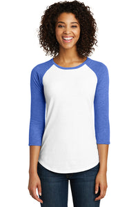 Women's Fitted Triblend 3/4-Sleeve / White & Royal Frost / FC Girls Tennis - Fidgety