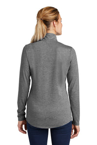 Ladies Tri-Blend Wicking 1/4-Zip Pullover / Heather Gray / Mermaids - Fidgety