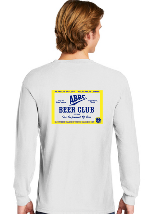 Heavyweight Ring Spun Long Sleeve T-Shirt / White/ ABRC Beer Club