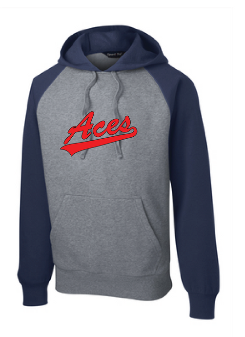 Raglan Colorblock Hooded Sweatshirt / Heather Gray / ACES - Fidgety