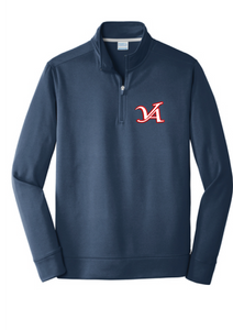 Performance Fleece 1/4-Zip Pullover Sweatshirt / Navy / Aces - Fidgety