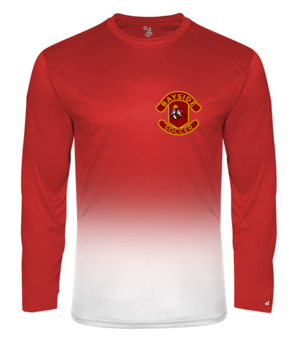 Crew Neck Long Sleeve Ombre T-Shirt / White & Red / Bayside High School Men's Soccer