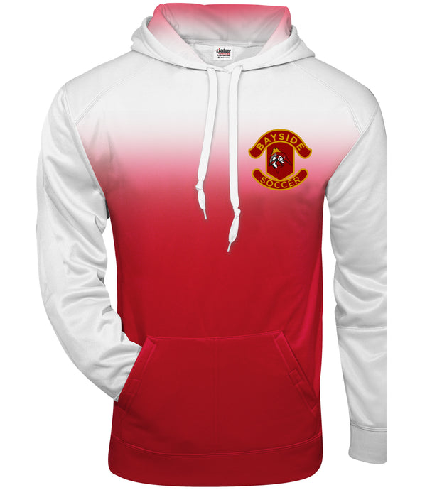 Ombre Hooded Sweatshirt / White & Red / Bayside High School Soccer