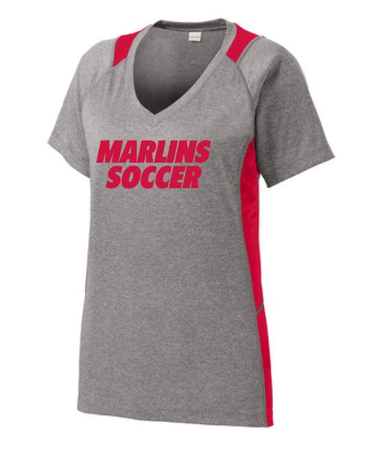 Ladies Heather Colorblock V-Neck Tee / Vintage Heather & Red / Bayside High School Soccer